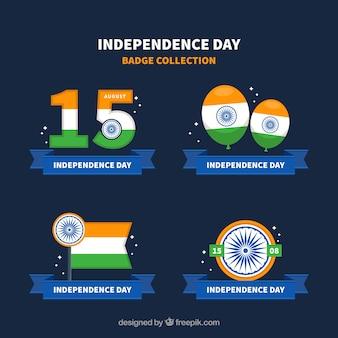 Dzień niepodległości indii odznaka kolekcja z płaskim projektem