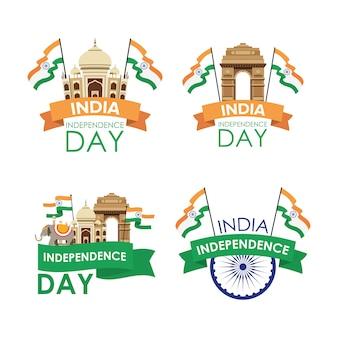 Dzień niepodległości indii z flagami i zestaw ikon