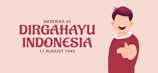 Dzień niepodległości indonezji obchody kartkę z życzeniami. ilustracja wektorowa