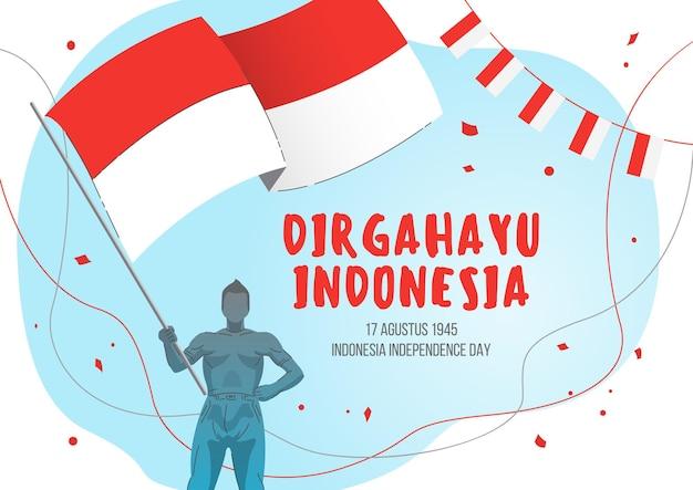 Dzień niepodległości indonezji z mężczyzną trzymającym indonezyjską flagę narodową. dirgahayu indonesia tłumaczy na happy indonezyjski dzień