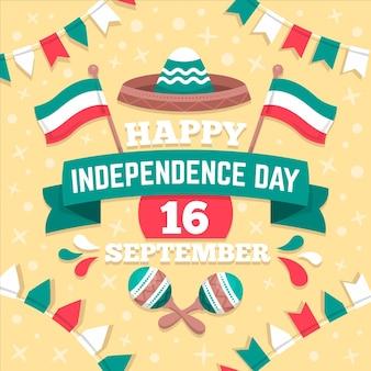 Dzień niepodległości meksyku w płaskiej konstrukcji