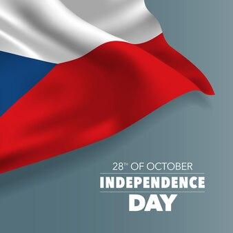 Dzień niepodległości republiki czeskiej kartkę z życzeniami, baner, ilustracji wektorowych. święto narodowe 28 października tło z elementami flagi, format kwadratowy