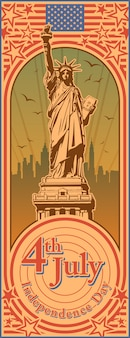 Dzień niepodległości, statua wolności, wakacje, wektor