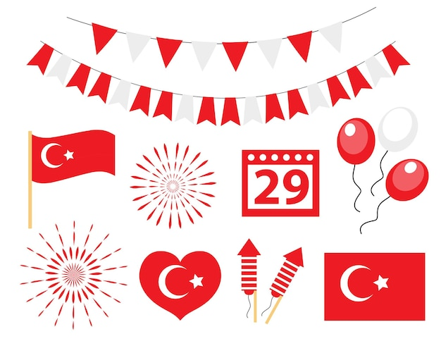 Dzień niepodległości turcji, tureckie święto narodowe zestaw ikon. ilustracja wektorowa.