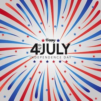 Dzień niepodległości usa. 4 lipca amerykańska wolność kolorowe niebieskie, białe, czerwone fajerwerki