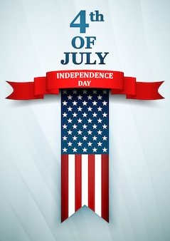 Dzień niepodległości usa. czwarty lipca z amerykańską flagą narodową.