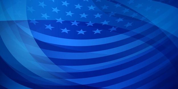 Dzień niepodległości usa streszczenie tło z elementami amerykańskiej flagi w kolorach niebieskim