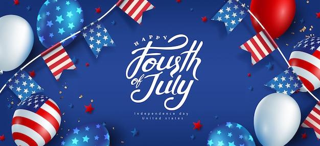Dzień niepodległości usa szablon transparent amerykańskie balony flaga i flagi dekoracja girland. 4 lipca obchody