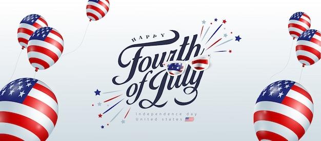 Dzień niepodległości usa szablon transparent amerykańskie balony flaga wystrój. 4 lipca obchody