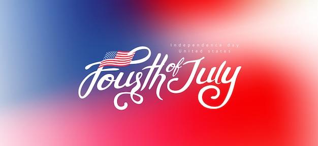 Dzień niepodległości usa transparent szablon tło gradientowe. 4 lipca obchody