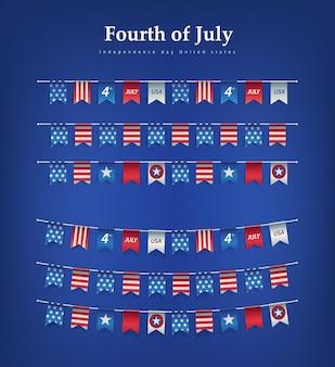 Dzień niepodległości usa trznadle flagi uroczystości 4 lipca girlandy