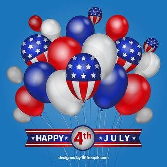 Dzień niepodległości usa z balony płaskie