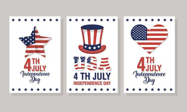 Dzień niepodległości usa z flagą i ikony