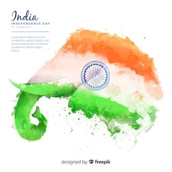 Dzień niepodległości w stylu indyjskim tle akwarela