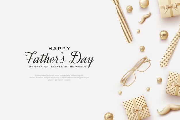 Dzień ojca ilustrowany pudełkiem prezentowym, wąsami, okularami i fantazyjnym krawatem 3d.