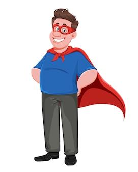 Dzień ojca. przystojny tata w kostiumie superbohatera
