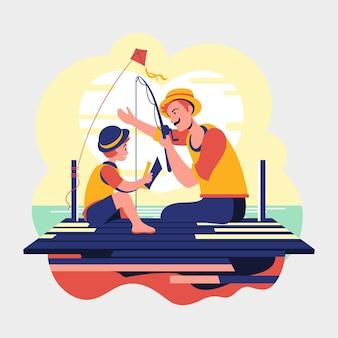 Dzień ojca tata i syn łowiący ryby