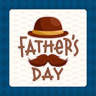 Dzień ojca z wąsami i kapeluszem