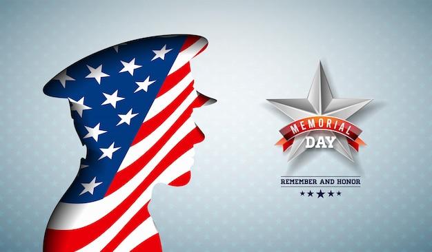 Dzień pamięci ilustracji usa. amerykańskie święto narodowe projekt z flagą w sylwetka patriotycznego żołnierza na jasnym tle wzór gwiazdy na baner, kartkę z życzeniami lub plakat wakacje
