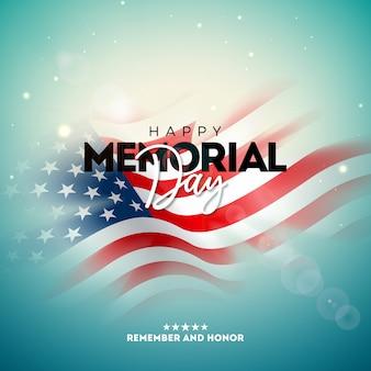Dzień pamięci szablonu projektu usa z blured amerykańską flagę na jasnym tle. ilustracja krajowych uroczystości patriotycznych na baner, kartkę z życzeniami, zaproszenie lub plakat świąteczny.