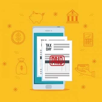 Dzień podatkow. raport podatkowy usługi finansowe ze smartfonem