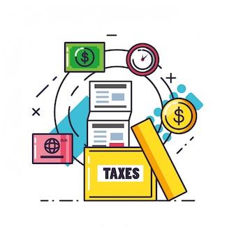 Dzień podatkowy z dokumentem i zestaw ikon