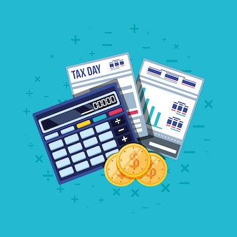 Dzień podatkowy z kalkulatorem i zestawem