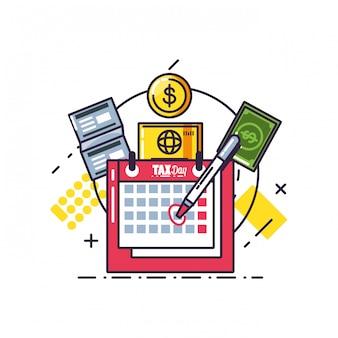 Dzień podatkowy z przypomnieniem kalendarza i zestaw ikon