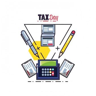 Dzień podatku z kalkulatora i zestaw ikon