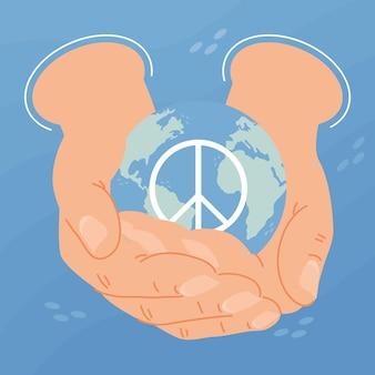 Dzień pokoju ręce podnoszące świat