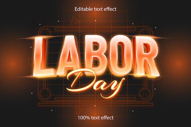Dzień pracy edytowalny efekt tekstowy retro w stylu neonowym