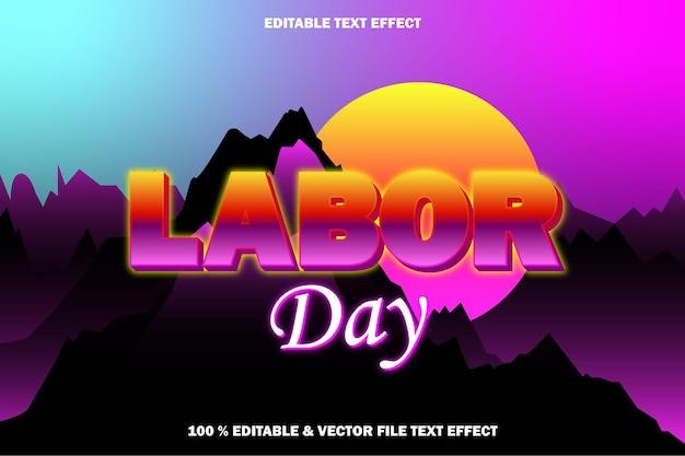 Dzień pracy edytowalny efekt tekstu w stylu retro