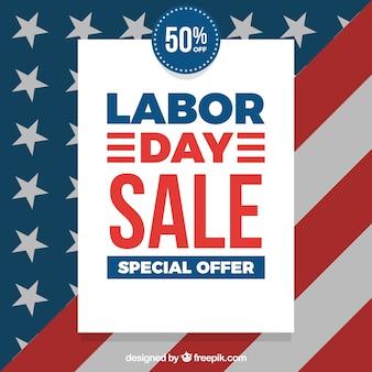 Dzień pracy sprzedaż skład z flaga amerykańską