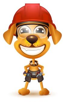 Dzień pracy. żółty pies budowniczy w uśmiech kask ochronny