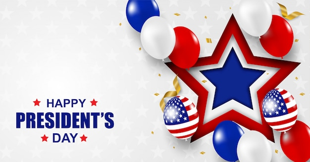 Dzień prezydenta usa. tło. projekt z balonami, flagą usa i konfetti ze złotej folii.
