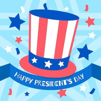 Dzień prezydenta w kapeluszu i gwiazdkach w