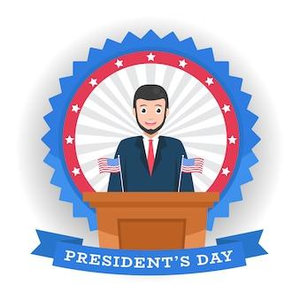 Dzień prezydenta z kreskówkową postacią i flagą.