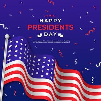 Dzień prezydentów z realistyczną flagą