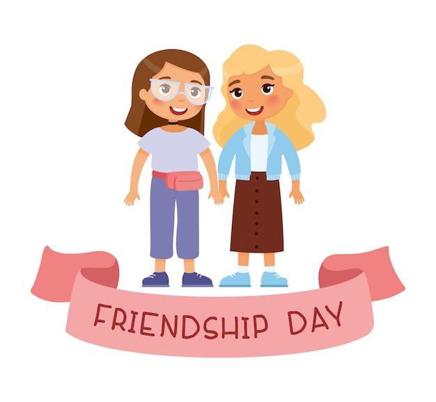 Dzień przyjaźni. dwie młode słodkie dziewczyny trzymając się za ręce. zabawna postać z kreskówki.