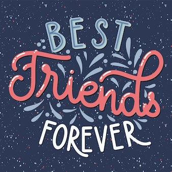 Dzień przyjaźni ręcznie rysowane napis. przyjaciele na wieczność. elementy wektorowe na zaproszenia, plakaty, kartki z życzeniami. projekt koszulki. cytaty o przyjaźni.