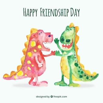 Dzień przyjaźni tło z dinozaurami