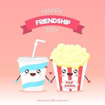 Dzień przyjaźni tło z jedzeniem kreskówka