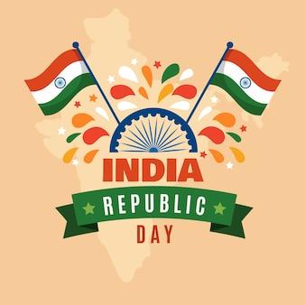 Dzień republiki indii w płaskiej konstrukcji