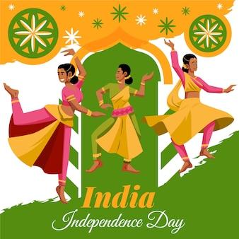Dzień republiki indii z tancerzami w płaskiej konstrukcji