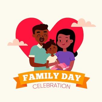 Dzień rodziny celebracja płaska konstrukcja