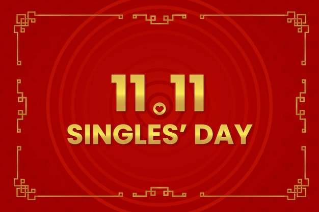 Dzień singla w kolorze czerwonym i złotym
