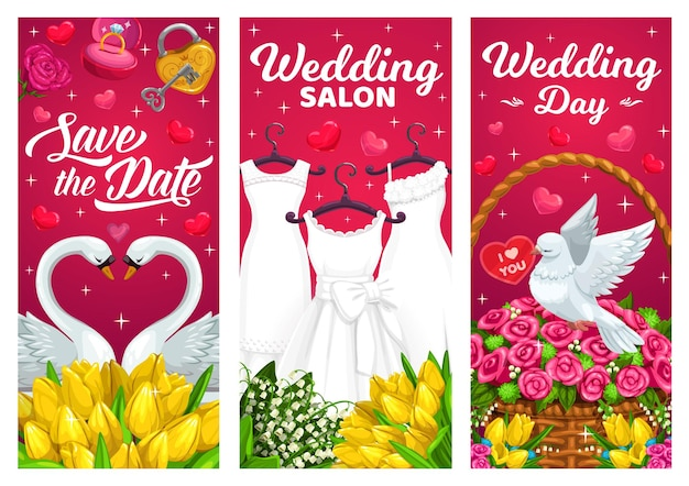 Dzień ślubu, banery małżeńskie z sukniami ślubnymi, para łabędzi i biała gołębica.
