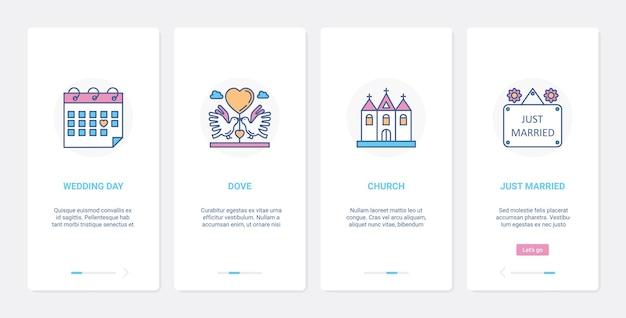 Dzień ślubu dla nowożeńców uroczystość ślubu ui ux onboarding zestaw ekranu strony aplikacji mobilnej