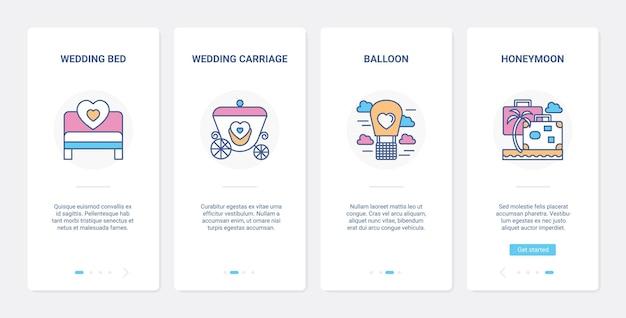 Dzień ślubu linia rejsu poślubnego ui ux onboarding zestaw ekranu strony aplikacji mobilnej