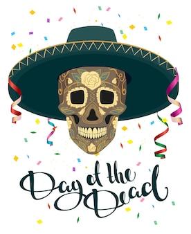 Dzień śmierci. czaszka w meksykańskim kapeluszu. dia de muertos. ilustracja w formacie